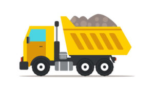 Dump truck flat vector illustration. Professional heavy machinery isolated design element. Yellow tipper truck cartoon clip art. Road works, building construction. Vehicle, transport